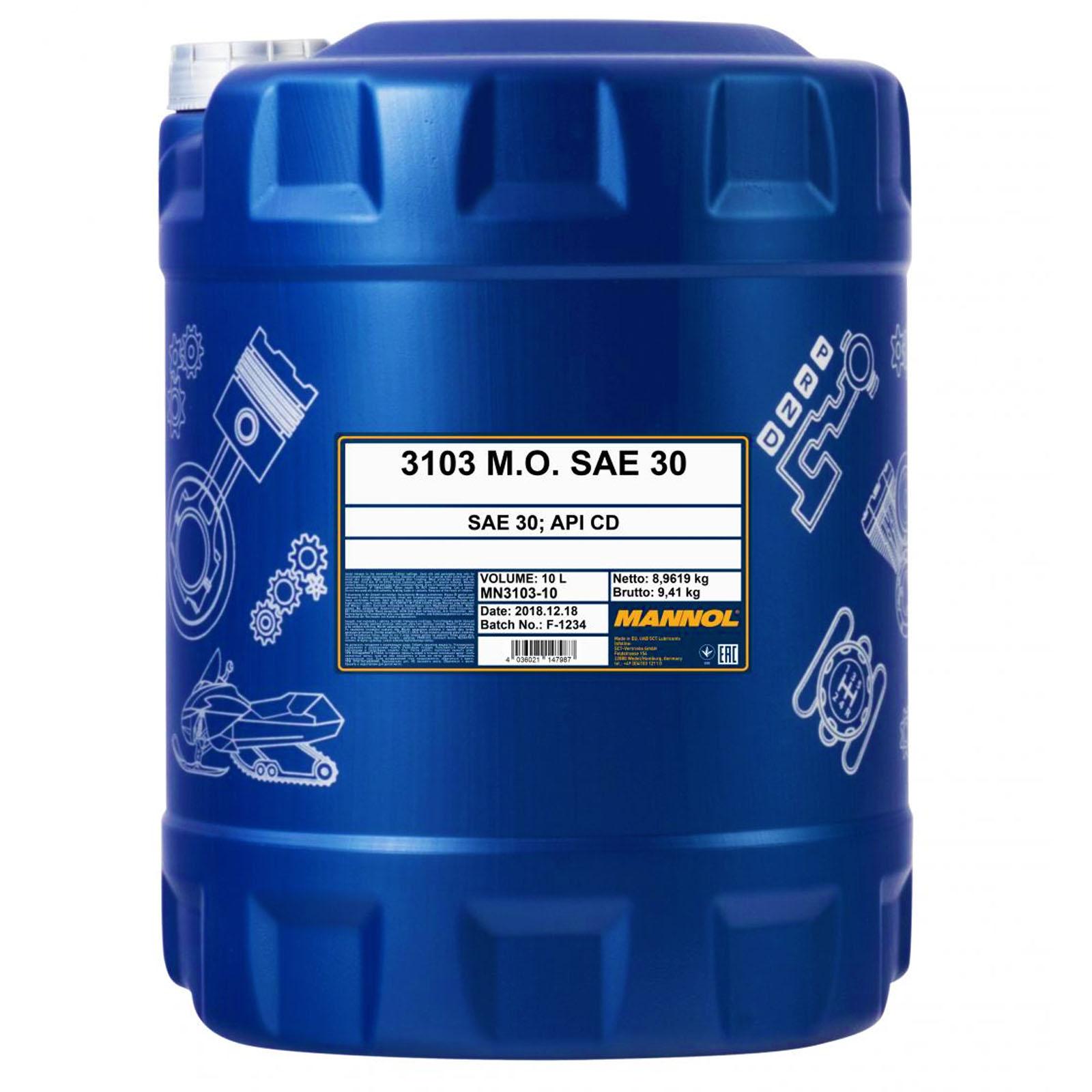 10 Liter Mannol M.O. SAE 30 Einbereichsmotoröl für Dieselmotoren (1x10)